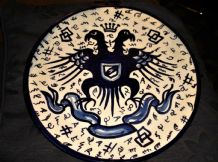 LARGE HANDPAINTED MAJOLICA PLATE COBALT DOUBLE EAGLE POSSIBLY ESPANA 12""